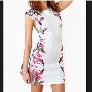Nasty Gal Multicolored Leaf White Dres